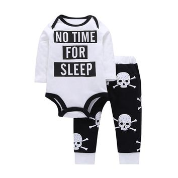 Casual Letter Bodysuit Set 2Pcs Newborn Infant Baby Boys Girls Bodysuit + Skull Bone Print Pants Clothes Fashion