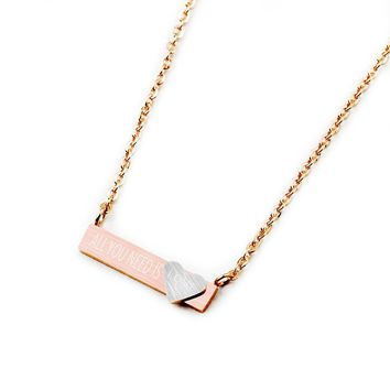 Charms Bar Pendant Engraved All You Need Is Love Word Necklace Tiny Heart Silver Gold Pink Color Letters Jewelry Women Gifts