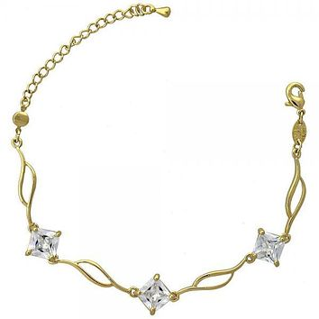 Gold Layered 5.030.003 Fancy Bracelet, Leaf Design, with White Cubic Zirconia, Polished Finish, Gold Tone