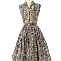 50s Floral Stripe Shirtwaist Day Dress