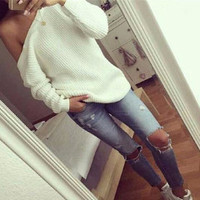 Autumn Winter Women Knit Long Sleeve Solid Sweatshirt Top a13314