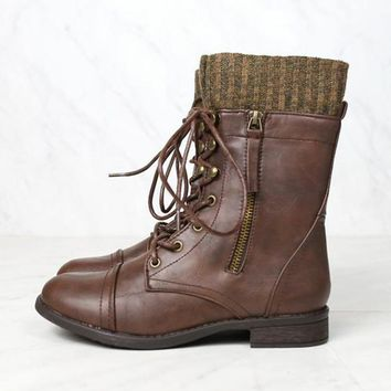 Final Sale - The Brown Combat Sweater Cuff Mid Calf Boots