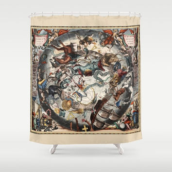 "Shower Curtain - 'Constellations of the Southern Sky' - 71"" by 74"" Home, Bathroom, Bath, Dorm, Girl, Christmas, Decor, Pictorial, Stars"