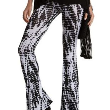 Black/White Tie-Dye Knit Flare Pants by Charlotte Russe