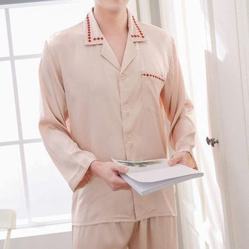 Faux Silk Breathable Printing Collar Pajamas Sets