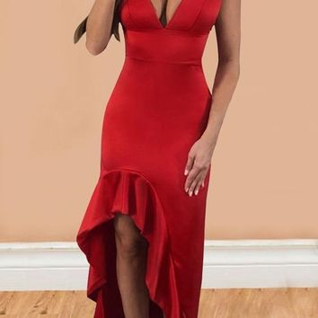 Red Irregular Draped High-low Spaghetti Strap Backless Deep V-neck Homecoming Party Maxi Dress