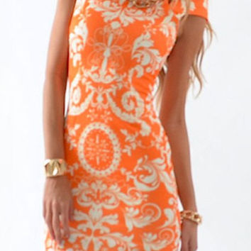 Orange Bohemian Print Short Sleeve Dress