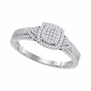 10kt White Gold Womens Diamond Square Cluster Bridal Wedding Engagement Ring 1/5 Cttw