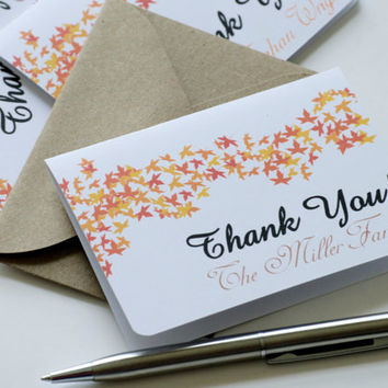 Personalized thank you cards, small thank you cards, thank you notes, enclosure cards, fall cards, fall wedding - set of 5