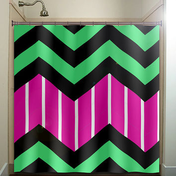candy stripe magenta green zigzag chevron shower curtain bathroom decor fabric kids bath white black custom duvet cover rug mat window