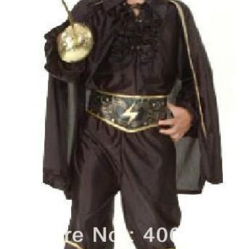 Free shipping,halloween party dress up costume children black Zorro costumes with cape