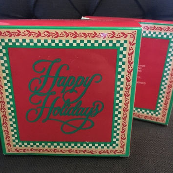 On Sale Set of 2 Vintage 1989 Happy Holidays Avon Napkin and Coaster Sets