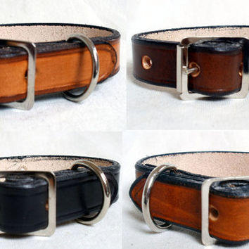 "Leather dog collars,  5/8"" wide,  black dog collar, brown dog collar, tan, handmade"