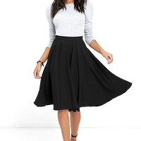 Dance Montage Black Midi Skirt