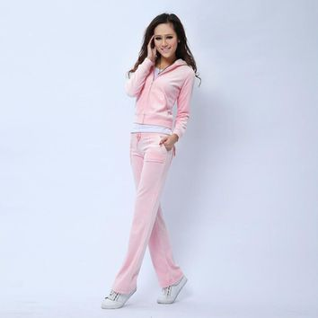Juicy Couture Pure Color Velour Tracksuit 6047 2pcs Women Suits Cherry