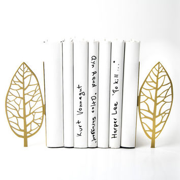 Bookends golden edition - Magritte trees - Magritte inspired bookends