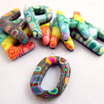 Letter Cabochons, Polymer Clay, Personalized Initial, Fimo Cabochons, Name Cabochons, Customized Jewelry, Custom Letter, Choose Your Colors