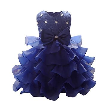 Summer Holiday Kids Dresses For Girls 2018 Princess Wedding Party Dress Baby Girl Clothes 1 Year Bridesmaid Baby Clothing bebes