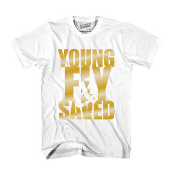 Young Fly & Saved Tee - White/Gold