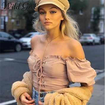 Off shoulder lace up crop top Ruffle midriff-baring tube top Casual streetwear camisole t-shirt women tops tees cami 2018