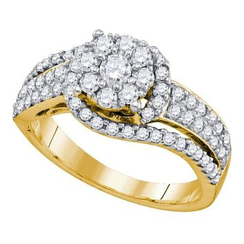 10kt Yellow Gold Women's Round Diamond Flower Cluster Ring 7/8 Cttw - FREE Shipping (US/CAN)