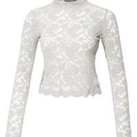 LE3NO Womens Stretchy Mock Neck Floral Lace Long Sleeve Cropped Blouse Top