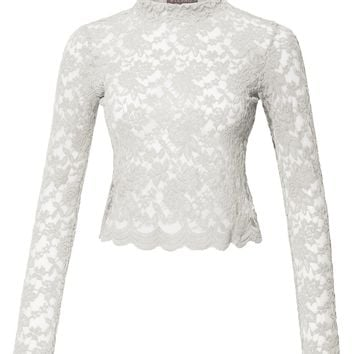 Stretchy Mock Neck Floral Lace Long Sleeve Cropped Blouse Top