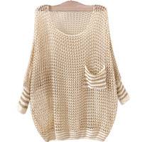 Beige Crocheted Patched-Pocket Sweatshirt