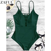 ZAFUL Women Sexy Crisscross Plunge One Piece Swimwear Backless Monokini Swimsuit Bandage Bathing Suits Beachwear Swim Wear