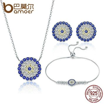 Authentic 925 Sterling Silver Trendy Round Blue Eyes Clear CZ Tennis Bracelets Necklaces Earrings for Women Jewelry Sets