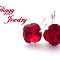 Swarovski Crystal Earrings, 12mm Scarlet Red, NEW 2017/2018 Color, Cushion Cut, Drops or Studs, Assorted Finishes, FREE SHIPPING