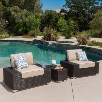 Marbella Outdoor 3Pc Wicker Club Chair & Table Set