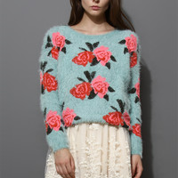 Floral Print Fluffy Sweater in Blue Blue S/M