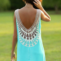 Light Blue Lace Sleeveless Dress