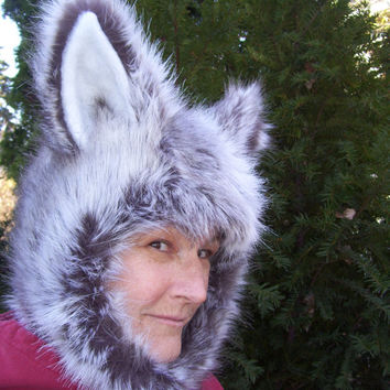 Furry Husky Dog Hat Wolf Coyote Fetish Faux Fur Hat Christmas Gift Geek Costume Wig Unisex Adult Malamute Geek Winter Hat