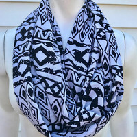 Women's-Handmade-Aztec-Tribal Print-White and black-Polyester-Fall-Light-Infinity Scarf-Accessories-Gifts for her