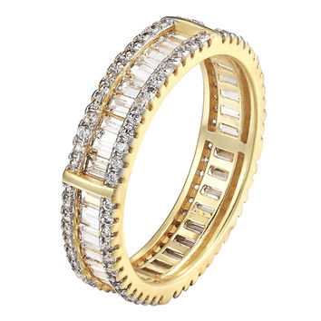 18k Gold Over 925 Silver Baguette Cut CZ Women Eternity Wedding Unisex Ring Band
