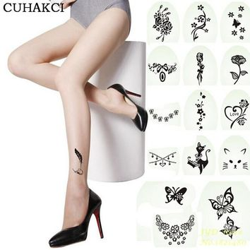 2017 Hot New Fashion Sexy Tattoo Tights Stockings Transparent Ultra-thin Ladies Girl and Women Pantyhose