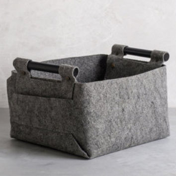 Large Felt Storage Bin with Natural Wood Handles, Felt Basket, Storage Basket, LB-01