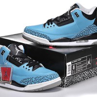 "Men's Nike Air Jordan 3 Retro ""Powder Blue"" Basketball Shoes - 136064 016"