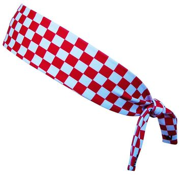 Croatia Red and White Checkerboard Elastic Tie Headband