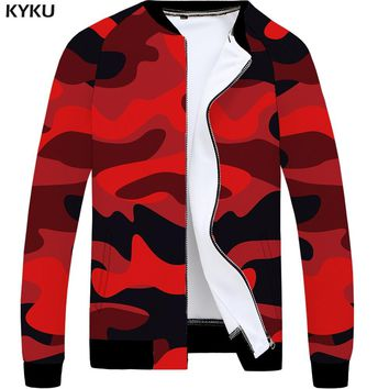 KYKU Camo Jacket Men Camouflage Baseball Jacket Bomber 3d Print Jacket Military Slim Red Vintage Mens Clothing Casual Coat New