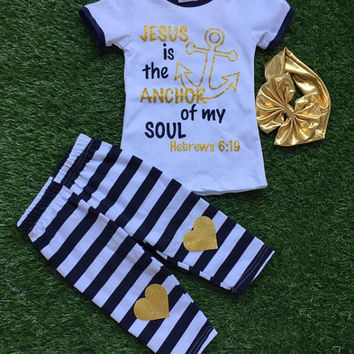 Jesus is the Anchor of my Soul Outfit, Girls Jesus Outfit, Jesus Clothing, Girls Leggings, Girls Gold Outfits, Religious Girls Outfits, Bow