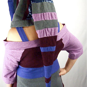 Sale OOAK Patchwork Upcycled Hooded Scarf, Handmade Accessories, Eco Scoodie, Long Pointed Striped Katwise Style Festival Hood, Stash Pocket
