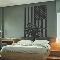 kik732 Wall Decal Sticker  US Army soldiers military special weapons squad American flag vest living room bedroom