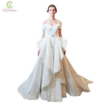 Wedding Dresses New The Bride Princess Elegant Lace Embroidery Detachable Train Mermaid Sexy Wedding Gown Custom