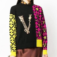 VERSACE Autumn Winter Popular Women V Letter Jacquard Round Collar Knit Sweater Sweatshirt