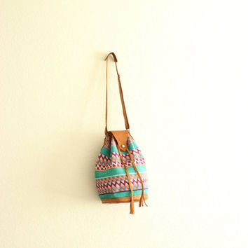 woven guatemalan kilim leather shoulder bag purse