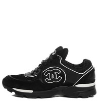 CHANEL Suede Calfskin CC Sneakers Black White 36.5