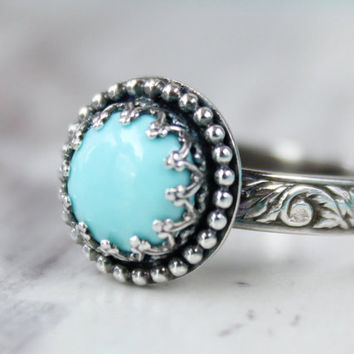 Turquoise Ring, Sterling silver, 8 mm Gemstone, Thick Floral Band, Gallery Crown Beaded Setting, Princess Ring, Vintage Style something blue
